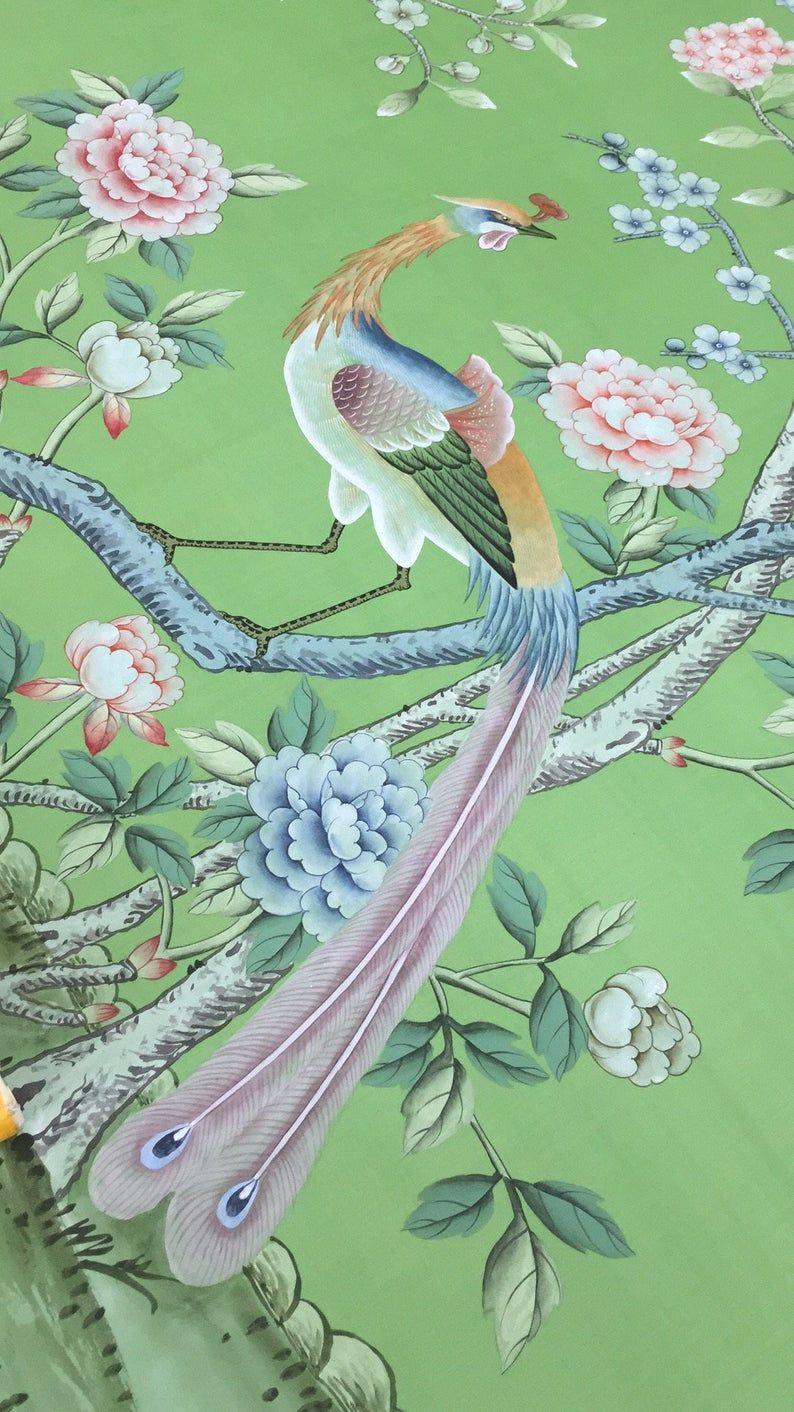 Chinoiserie handpainted wallpaper on emerald green silk
