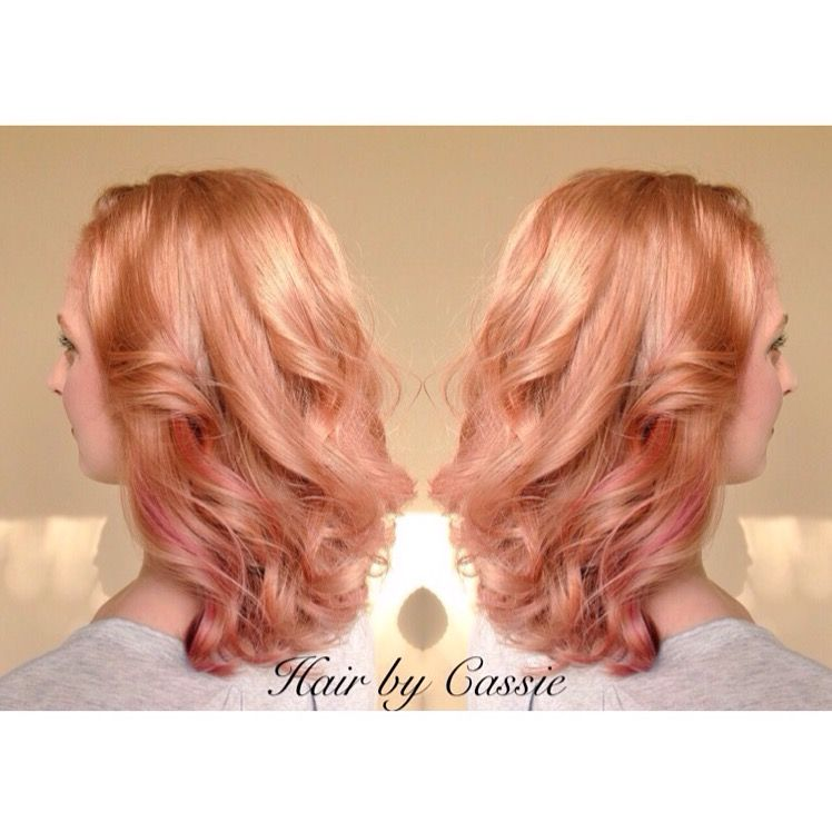 Strawberry rose gold pink hair color