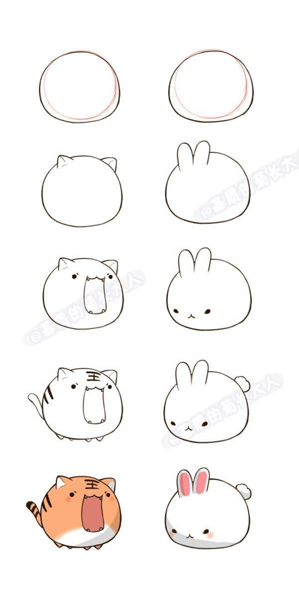 Apprendre A Dessiner Un Lapin Kawaii Et Un Chat Kawaii Drawing