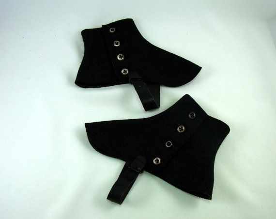 Black Wool Spats Vintage Wool Spatterdashers Vintage Footwear Accessory Steampunk