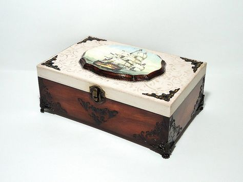 Big Hand Decorated Box Antique Jewelry Box Distressed Light