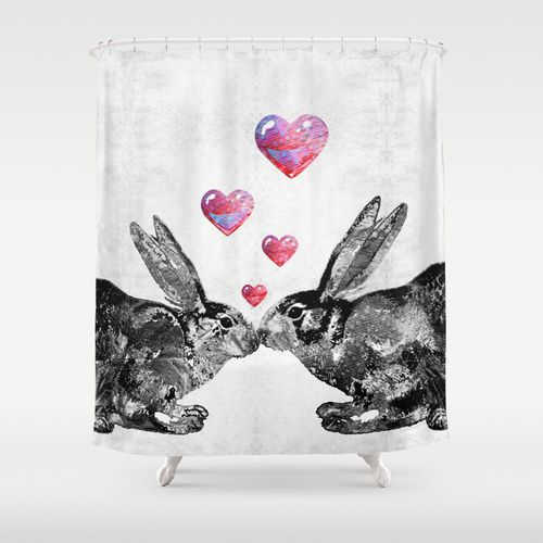 Bunny Rabbit Art - Hopped Up On Love 2 - By Sharon Cummings Shower Curtain