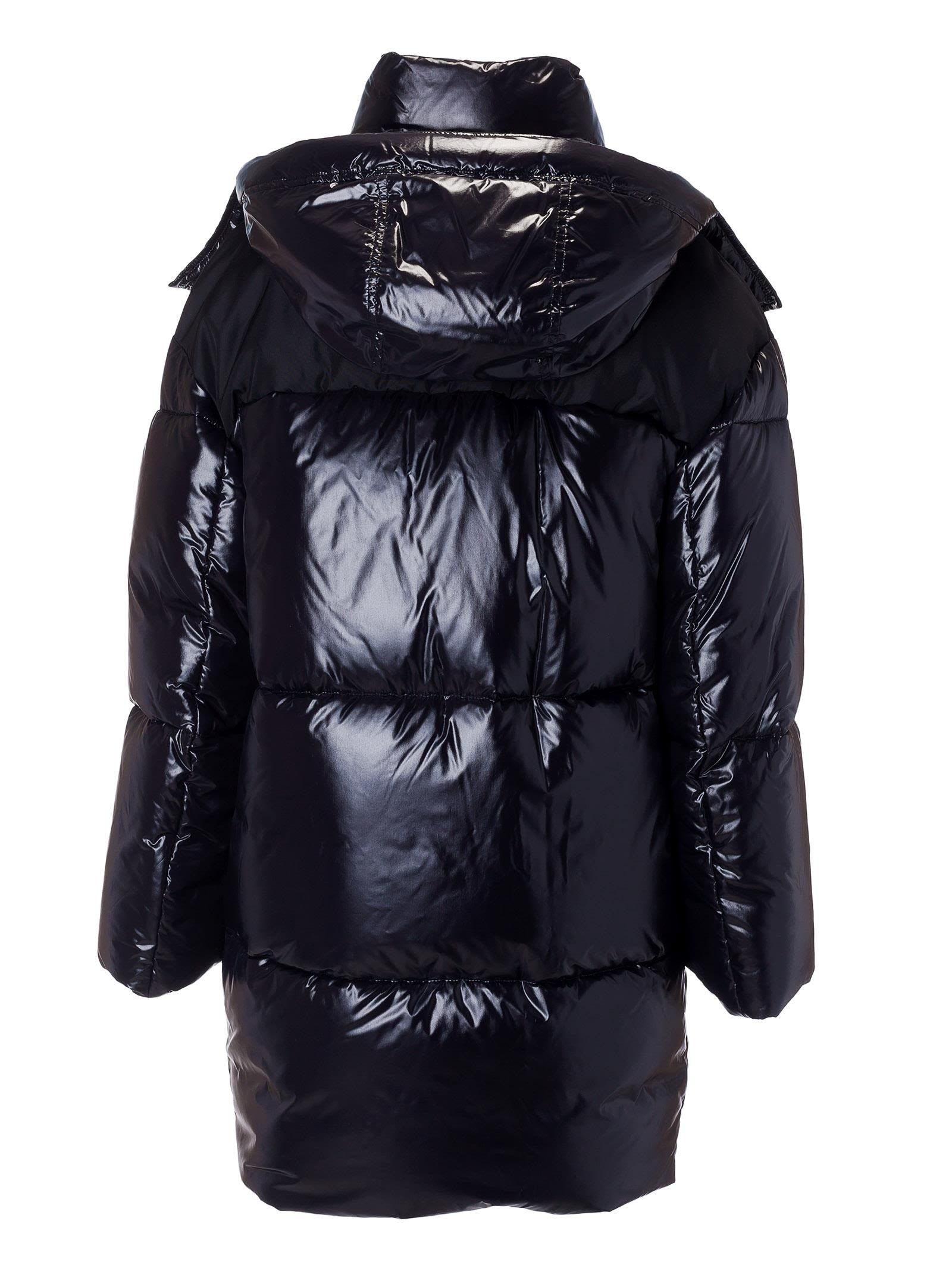 37837967bf3 Best price on the market at italist. Miu Miu - Miu Miu Long Quilted Long  Logo Patch Padded Jacket - Nero