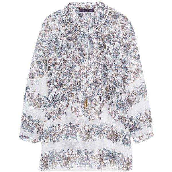 Violeta by Mango Paisley Print Blouse, Natural White (£30) ❤ liked on Polyvore featuring tops, blouses, plus size blouses, metallic top, plus size tops, 3/4 sleeve blouse and 3/4 sleeve tops