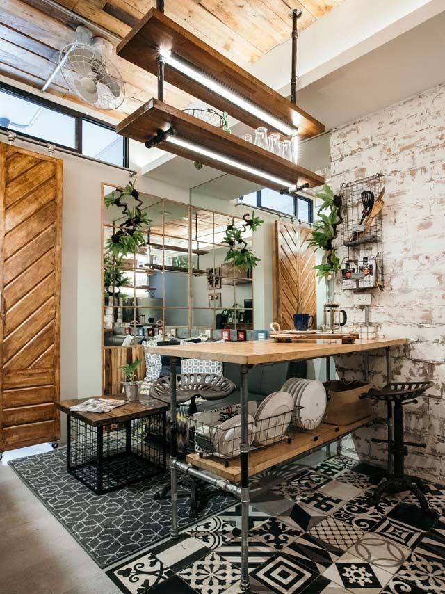 A 24sqm Rustic Industrial Studio Unit Condo Interior Industrial Home Design Rustic Kitchen