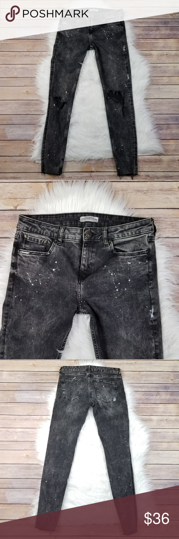732d5eb065 ZARA Destroyed Paint Splatter Skinny Crop Jeans ZARA High Waisted ...