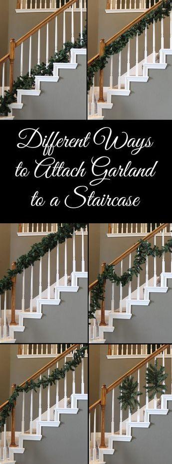 Different Ways to Attach Garland to a Staircase | Christmas staircase, Christmas diy, Christmas stairs