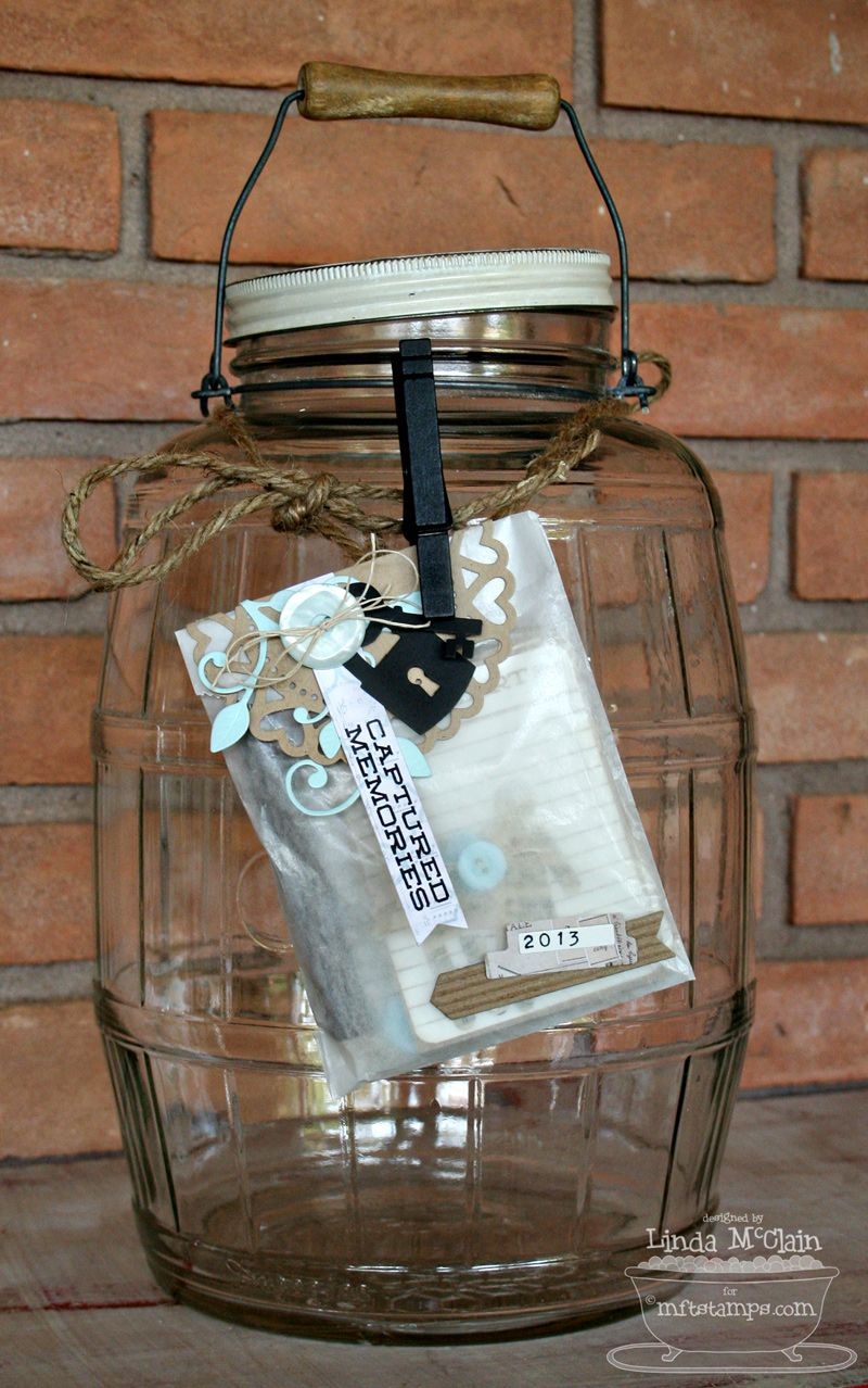 Memory Miser Jar to collect memories from 2013 from a vintage glass pickle barrel #memoryjar