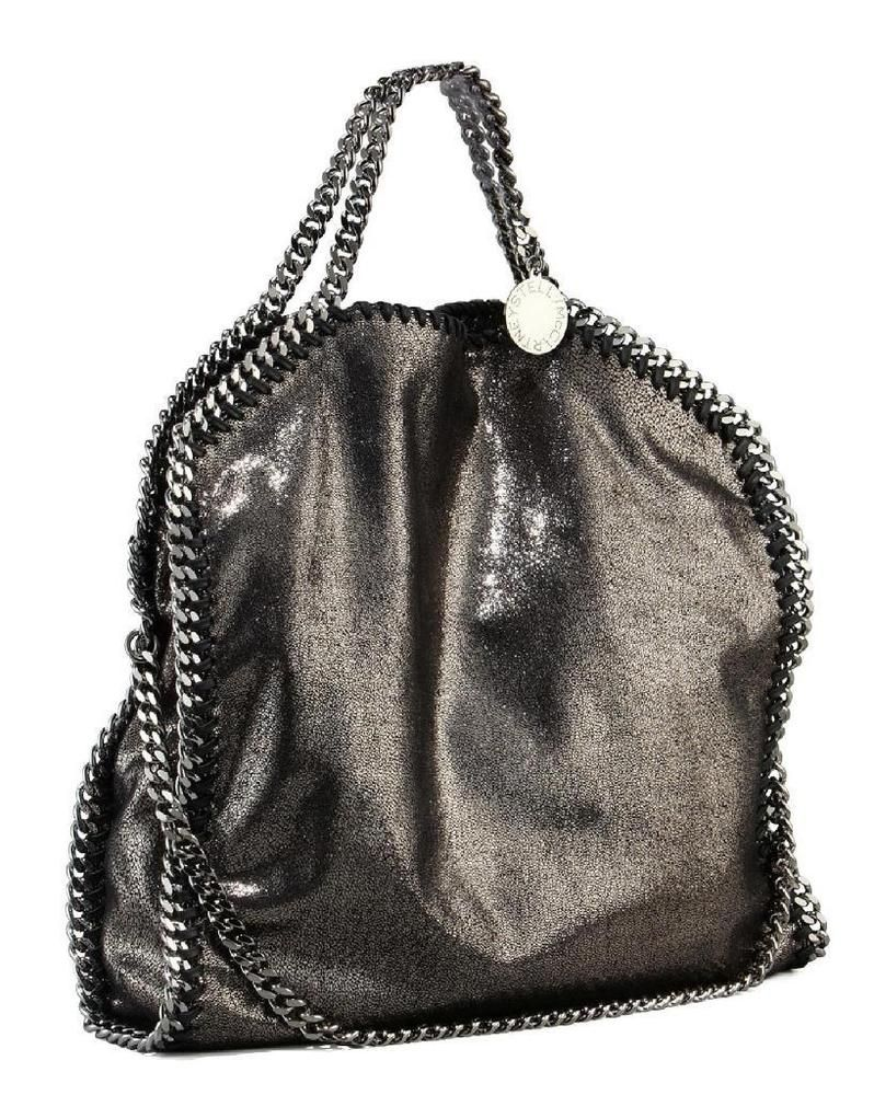 f33043404c STELLA MCCARTNEY METALLIC FALABELLA FOLD OVER FAUX LEATHER TOTE/SHOULDER BAG  | eBay