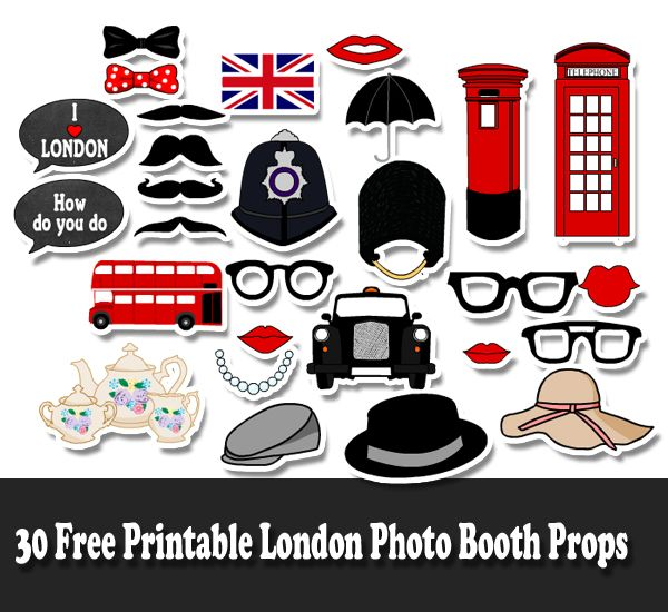 30 free printable london photo booth props home printables