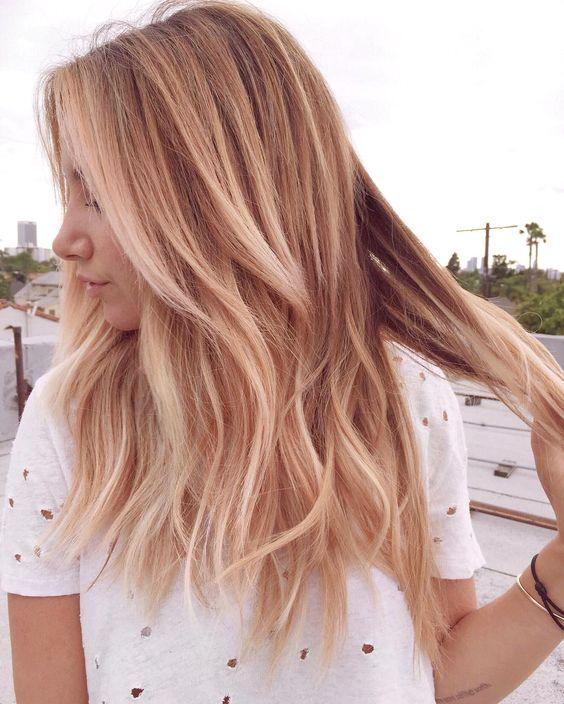 Blond haar met bruine highlights