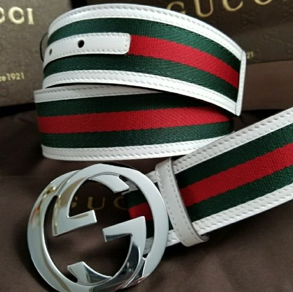f27d18876f4 😍Authentic Gucci Belt Red Green White Stripes 😍Authentic Gucci Belt Red  Green White Stripes
