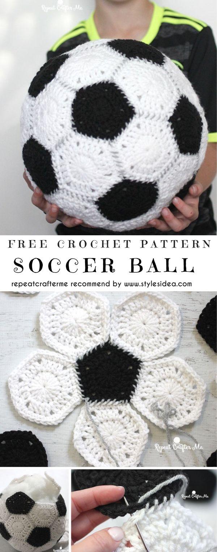 Balón de fútbol sin patrón de ganchillo | Ideas de manualidades ...