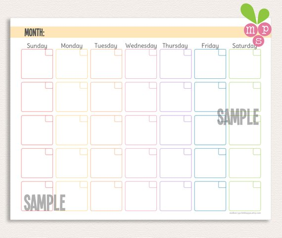 INSTANT DOWNLOAD Monthly Calendar 3 Hole Punch Template Perfect For School Aged Kids Or Hang On A