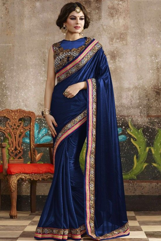 dfcff0b0eb18b Plush Peacock Blue Saree Traditional Sarees