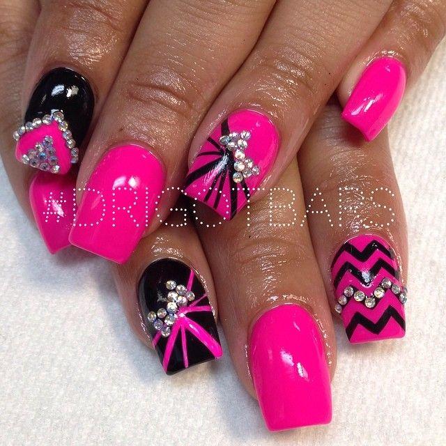 Pink Black Designs Nail Art Nail Art Nail Art Designs
