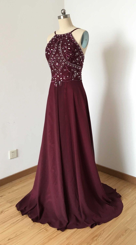 Halter burgundy prom dresses formal dresses graduation party