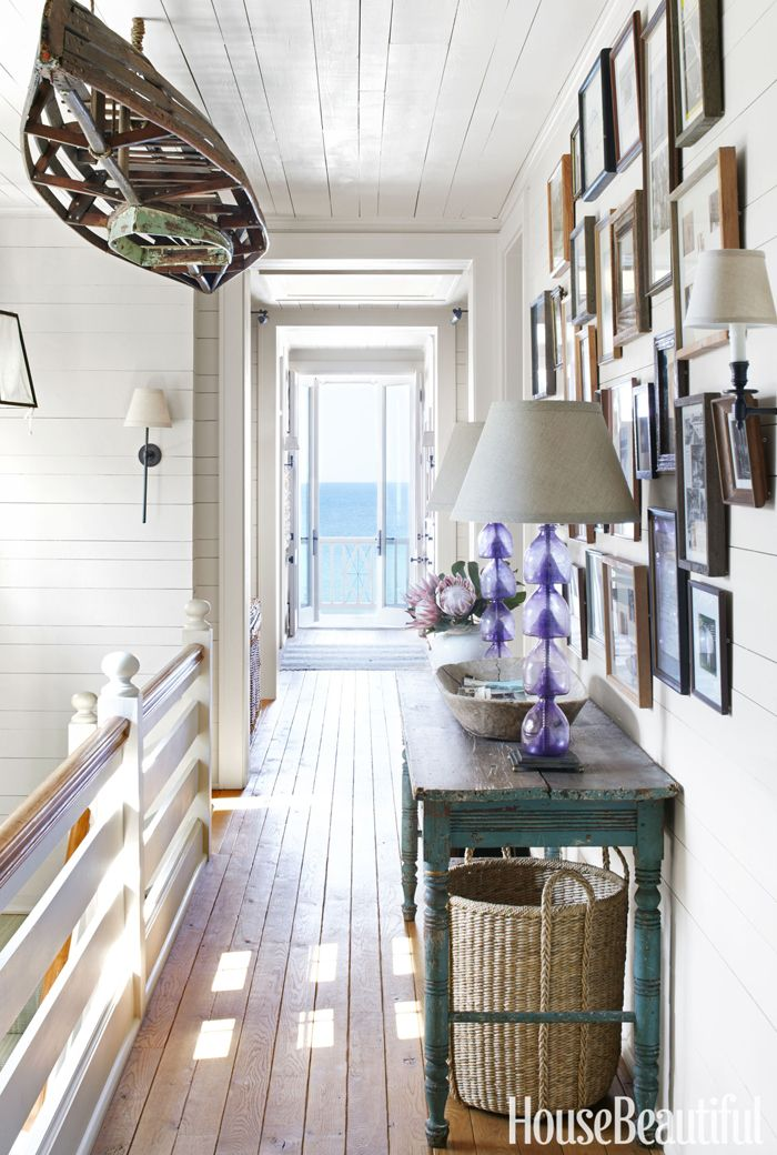 Nautical themed decor in a coastal home with