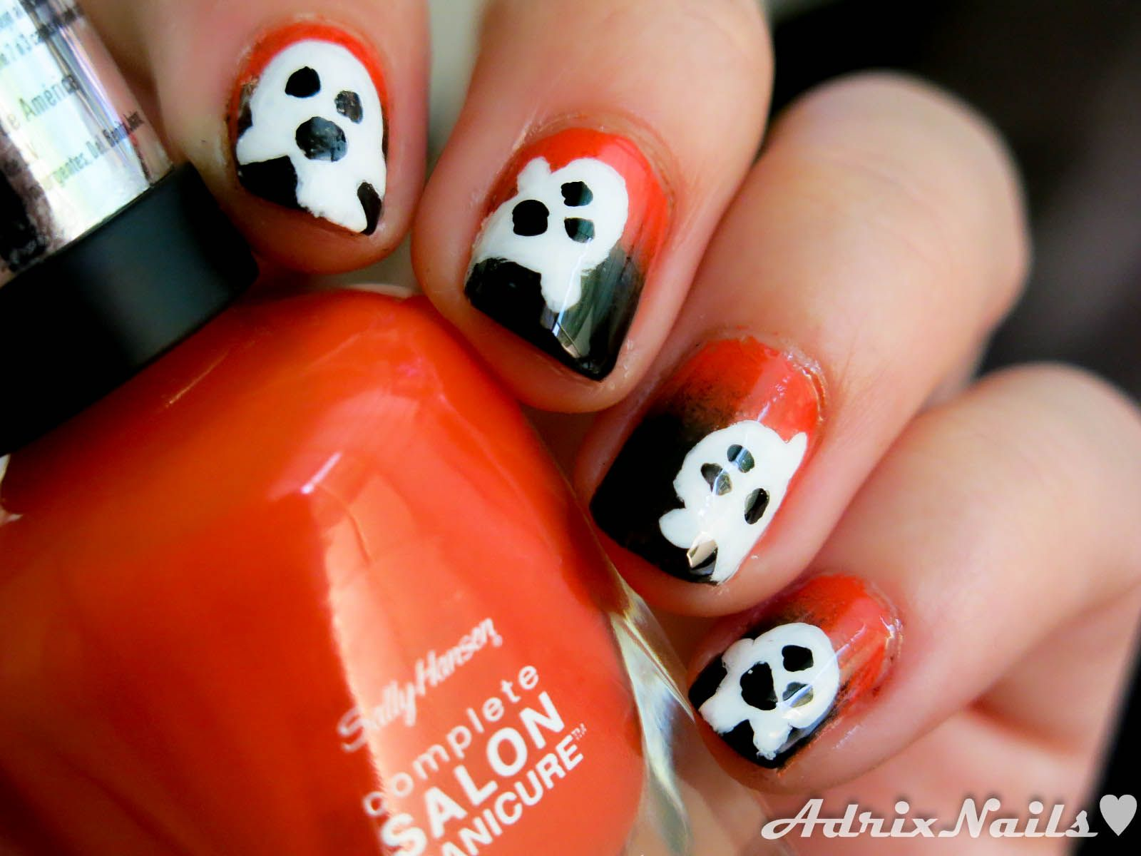 Halloween ghost nail art 2018 | Halloween nail designs ...