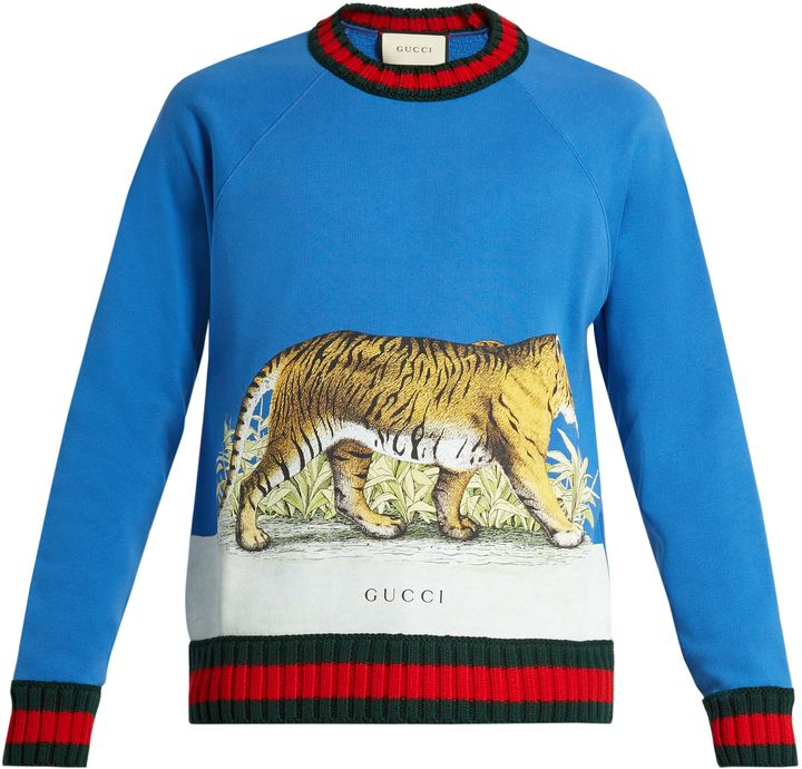 547fc6c67c486 GUCCI Walking Tiger-print cotton sweatshirt