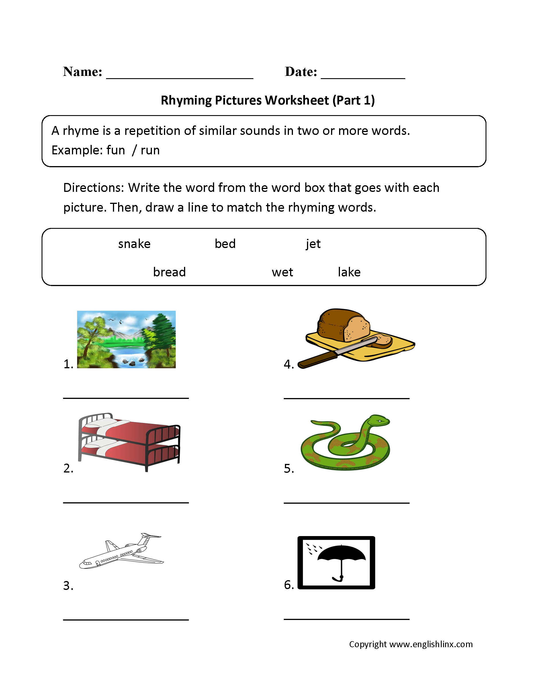 Rhyming Pictures Worksheets Part 1 With Images