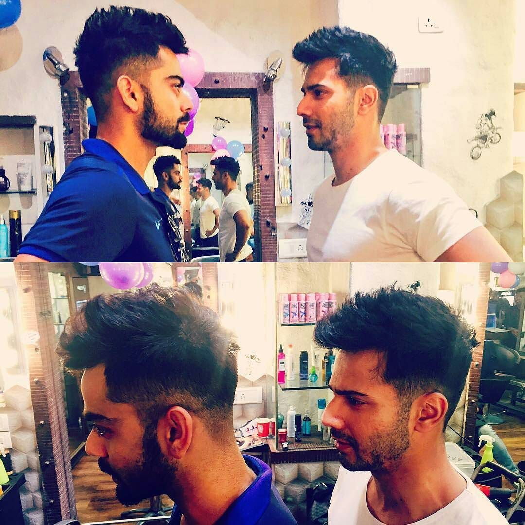 Varun Dhawan Copied Virat Kohlis Hair Style And Proved That He Is The Biggest Fan Filmywave Varundhawa Virat Kohli Hairstyle Virat And Anushka Varun Dhawan