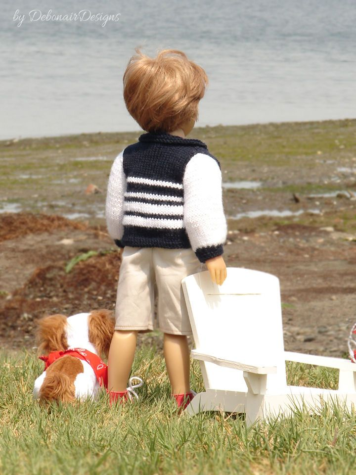 """Hand-knitted jacket designed to fit 18"""" Kidz N' Cats dolls by Debonair Designs"""