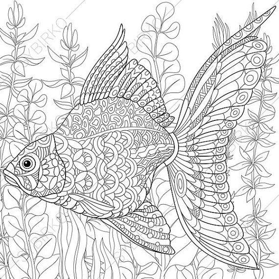 Adult Coloring Pages Goldfish Zentangle Doodle For Adults Digital Illustration Instant Download Print