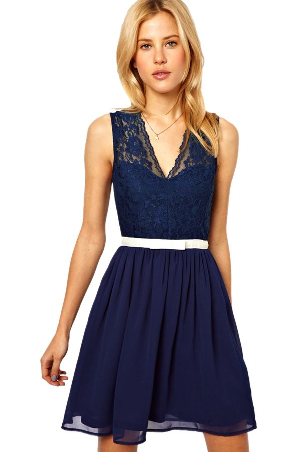 Sexy Deep Blue V Neck Sleeveless Lace Dress is high but cheap,wear it like it is, or dress it up, you are sure to look sexy and feel amazing. $27.42