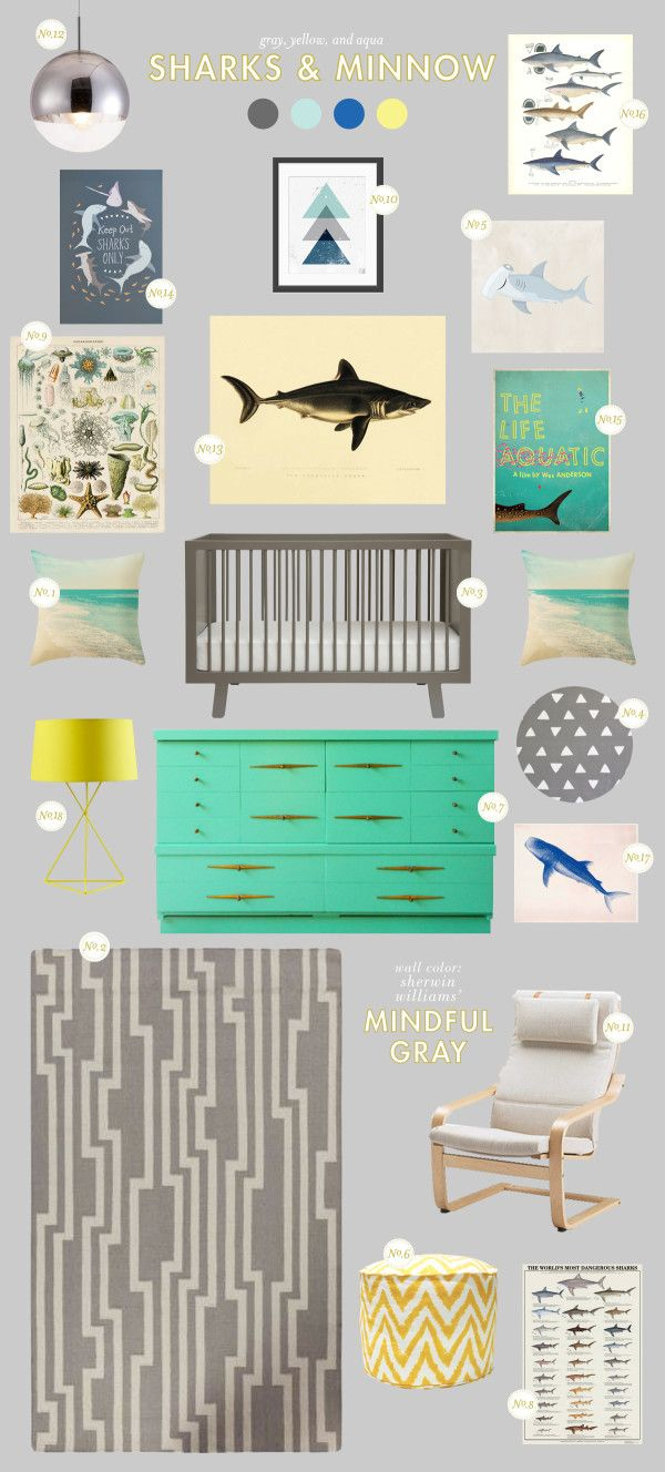 I really like these colors.. not the shark picture.. or particularly the idea that its a baby room..