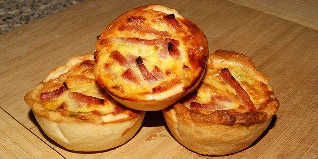 Lækre mini-tærter med et herligt fyld af porrer og skinke. De kan virkelig anbefales.