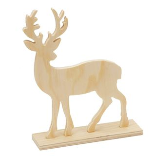 Unfinished Standing Wood Deer Figurine With Antlers Wood