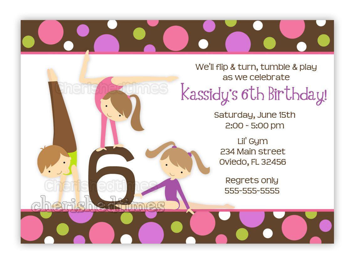 Gymnastics Girl Birthday Party Invitation With Picture Or Without U Birthday Party Invitation Templates Party Invite Template Girl Birthday Party Invitations