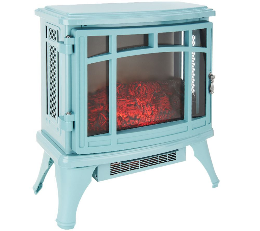 Turquoise Duraflame Infrared Heater Stove With Flame
