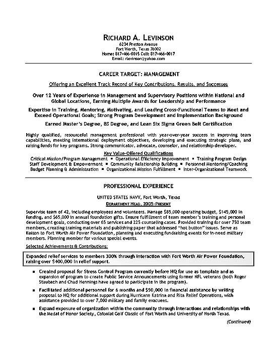 Example Of Military Resume Amusing Department Manager Resume Example  Resume Examples And Sample Resume