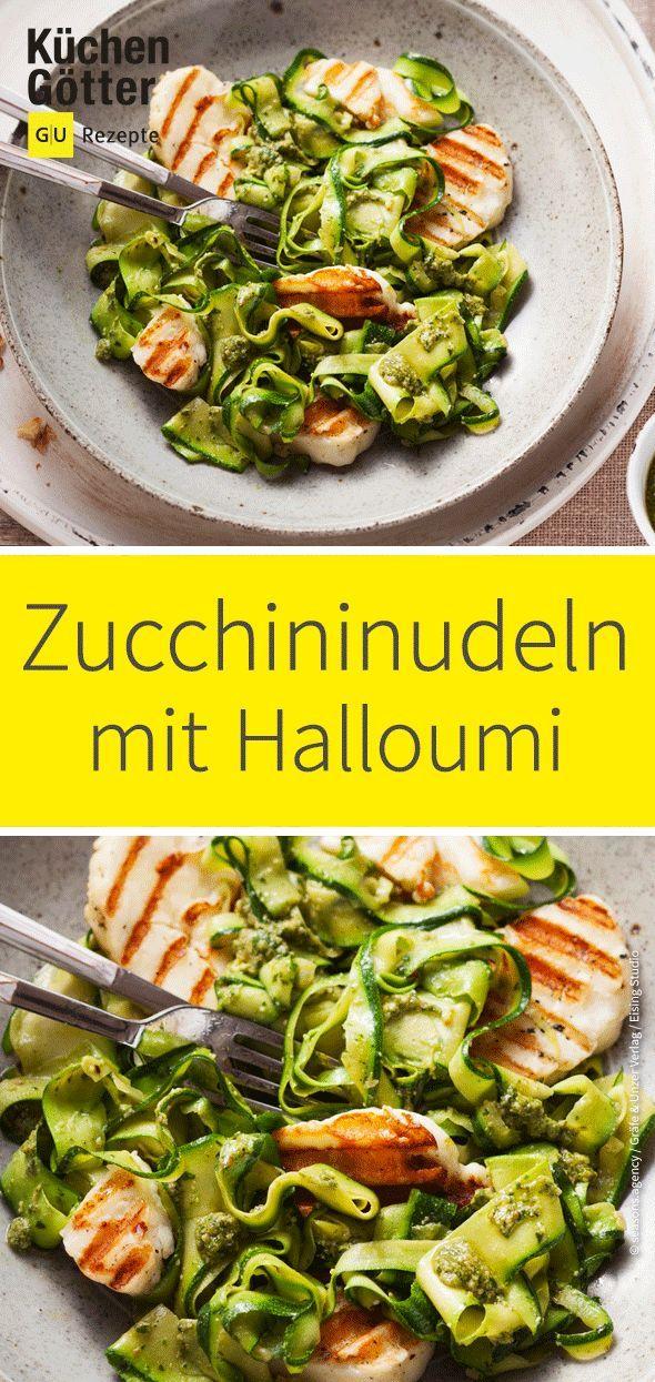 Halloumi mit Zucchini-Pesto-Nudeln