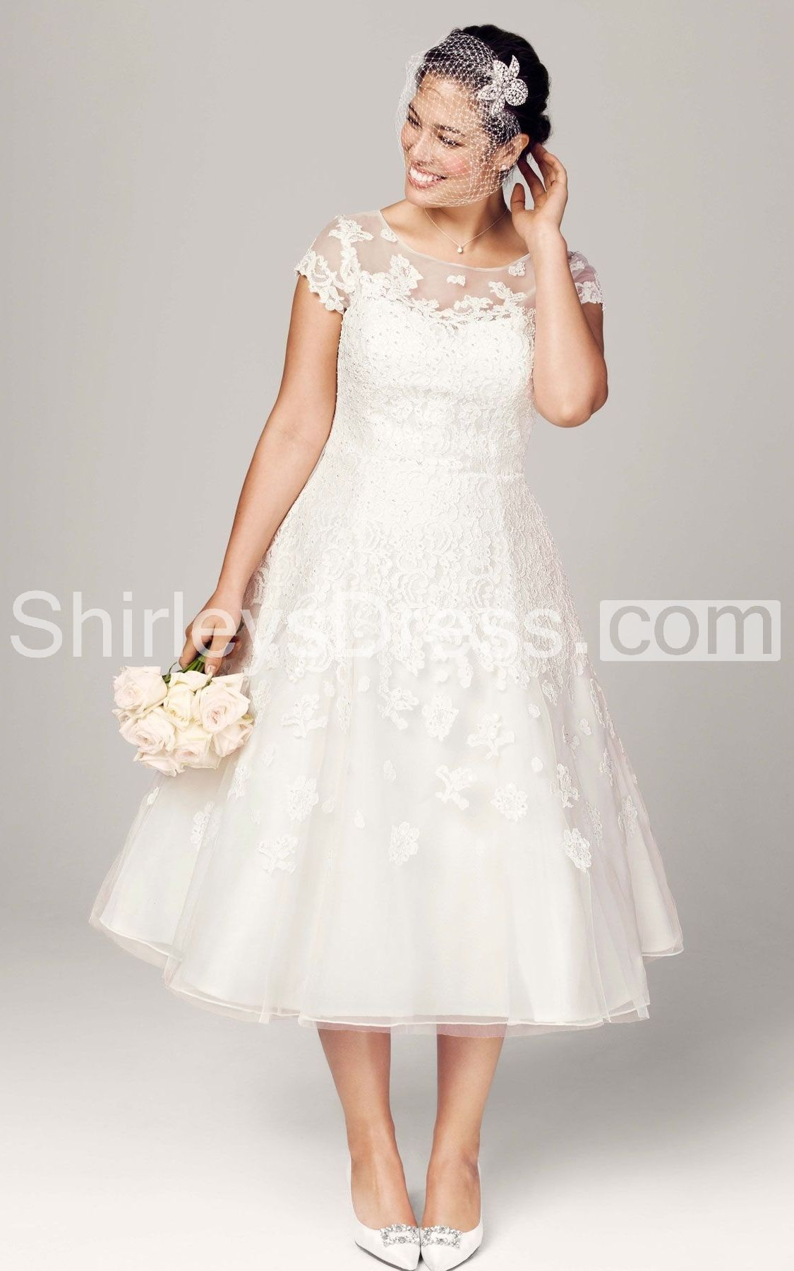 Tealength plus size wedding dress with cap sleeve illusion neckline