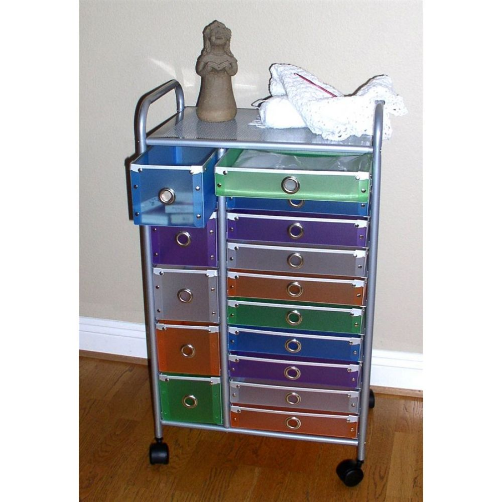 Charmant Rolling Storage Cart With Drawers | 15 Drawer Multi Colored Rolling Storage  Cart
