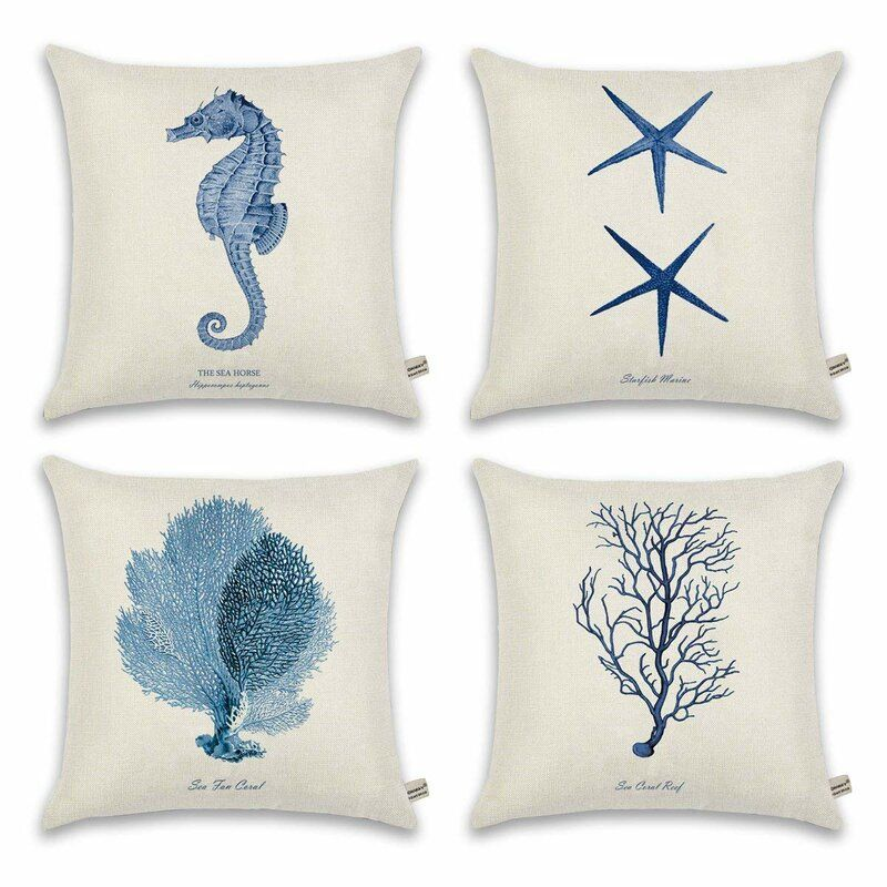 Constantine Ocean 4 Piece 18 Throw Pillow Cover Set Coastal Cottage Style Ocean Throw Pillow Beach Cottage Decor