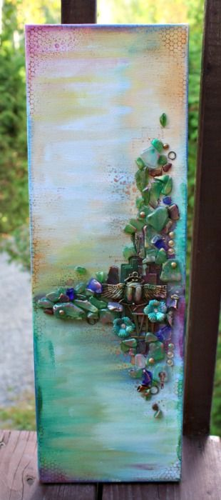 Verre De Mer Et Mixed Media Canvas Art Sculpture