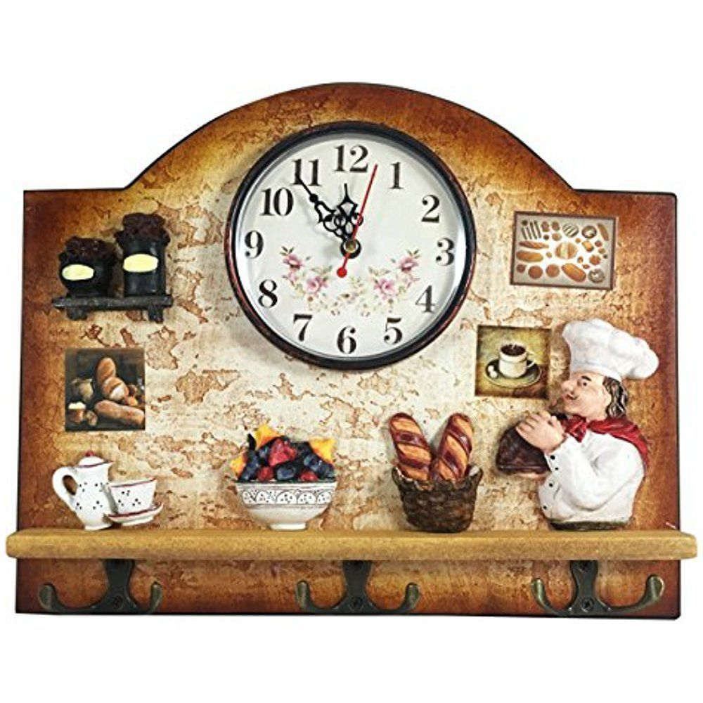 Clock with Hooks Key Hanging Vintage Italian Design Wall Kitchen ...