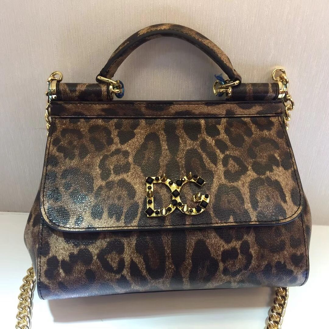 e69972a016d5 Dolce Gabbana Small Medium Sicily Bag With Logo Patch Leopard textured  leather 2017