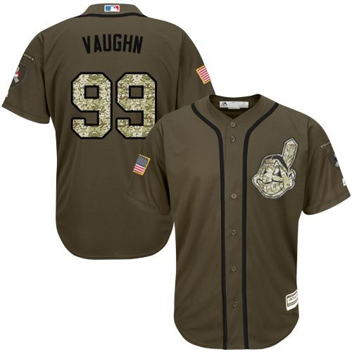 e3470d655 Indians  99 Ricky Vaughn Green Salute to Service Stitched MLB Jersey Grey