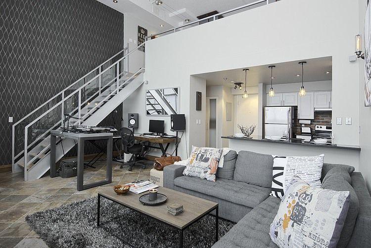 Un loft con decoración en tonos grises A \ D HOME Pinterest