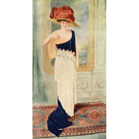 Dry Goods Review 1912 Woman with feather hat Canvas Art - Unknown (18 x 24)