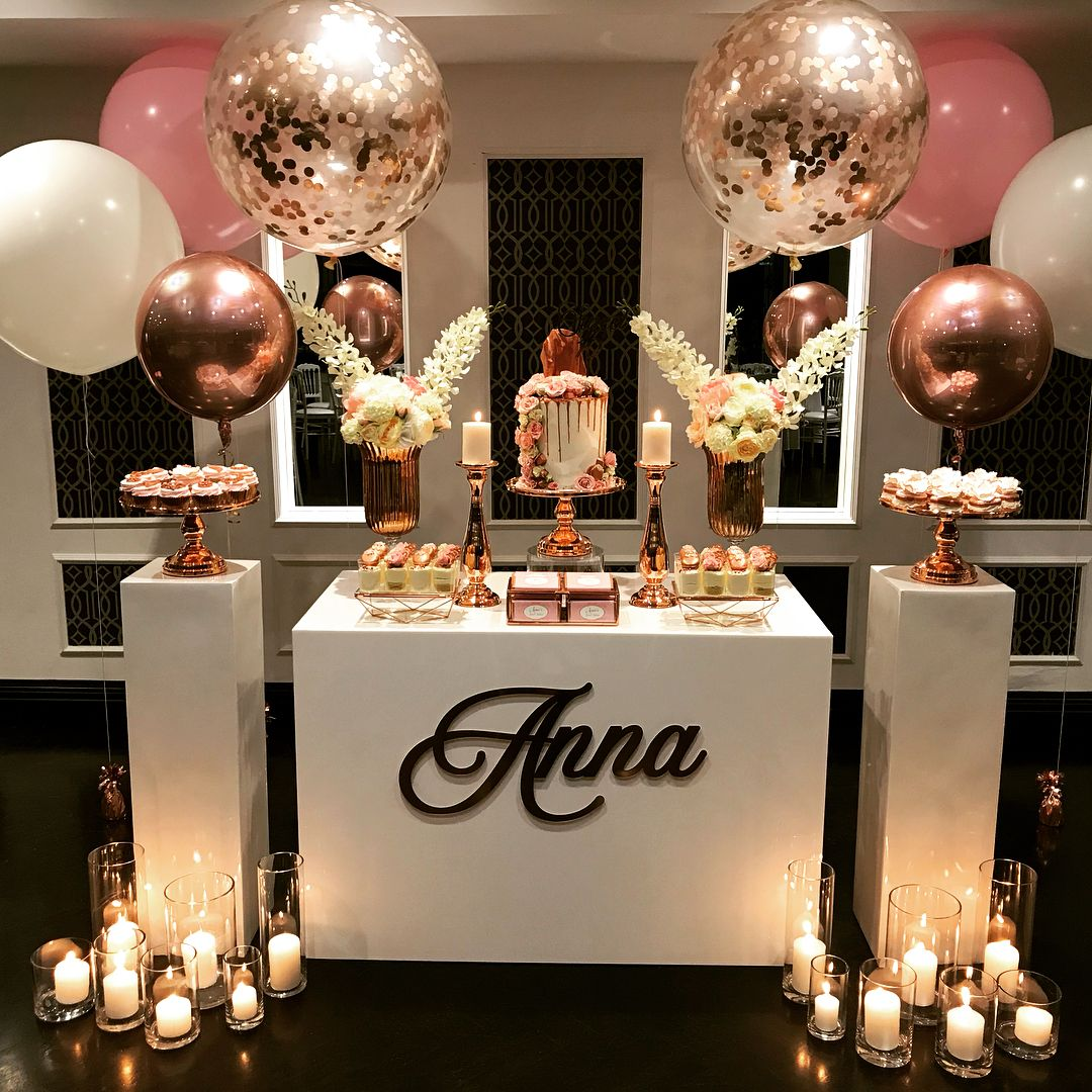 A stunning pink and rose gold set up for the equally