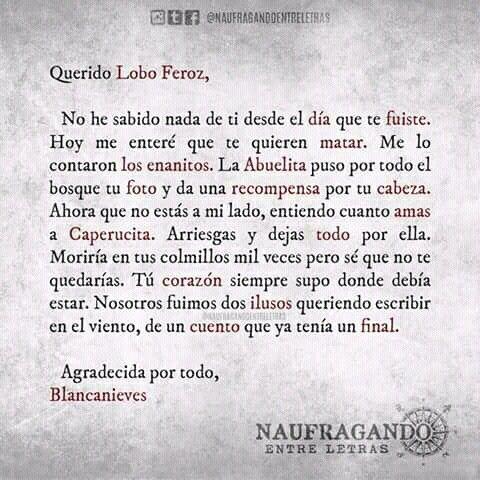 Carta 10 Lobo Feroz Y Caperucita Frases De Cuentos Y Cartas
