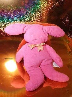 North American Bear Co. Plush Baby Bunny Pastel Bright Pink Pancake Flat Plush