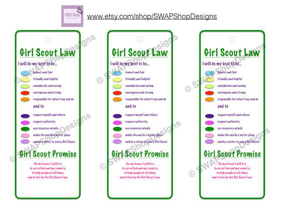 graphic relating to Girl Scout Promise and Law Printable identified as PRINTABLE - Lady Scout Regulation and Ensure Bookmarks Daisy