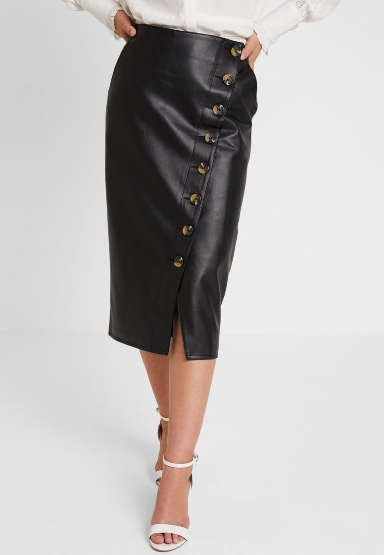 e3e1339d63a Warehouse BUTTON DETAIL PENCIL SKIRT - Jupe crayon - black - ZALANDO.FR